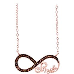 0.10 CTW Red Color Diamond Infinity Smile Love Anniversary Necklace 10KT Rose Gold - REF-19N4F