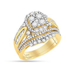 1.58 CTW Diamond Cluster Bridal Engagement Ring 14KT Yellow Gold - REF-157Y5X
