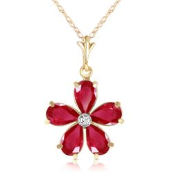 Genuine 2.22 ctw Ruby & Diamond Necklace Jewelry 14KT Yellow Gold - REF-36Z3N