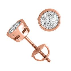 14K Rose Gold 2.03 ctw Natural Diamond Stud Earrings - REF-519M2K-WJ13275
