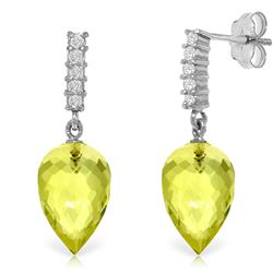 Genuine 18.15 ctw Lemon Quartz & Diamond Earrings Jewelry 14KT White Gold - REF-41N2R