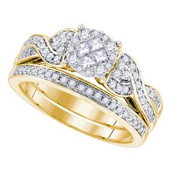 0.67 CTW Princess Diamond Soleil Bridal Engagement Ring 14KT Yellow Gold - REF-97H4M