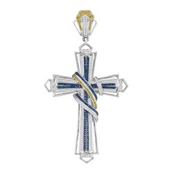 1.6 CTW Mens Blue & Yellow Color Diamond Bound Cross Charm Pendant 10KT White Gold - REF-194H9M