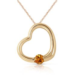 Genuine 0.25 ctw Citrine Necklace Jewelry 14KT Yellow Gold - REF-29K2V