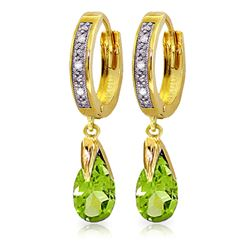 Genuine 2.53 ctw Peridot & Diamond Earrings Jewelry 14KT Yellow Gold - REF-58F2Z