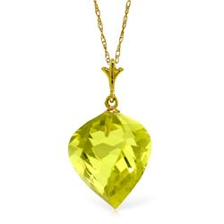 Genuine 10.75 ctw Quartz Lemon Necklace Jewelry 14KT Yellow Gold - REF-23V9W
