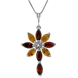 Genuine 2.0 ctw Garnet, Citrine & Diamond Necklace Jewelry 14KT White Gold - REF-47Z4N