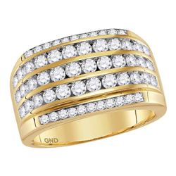 2.35 CTW Mens Diamond Wedding Anniversary Ring 14KT Yellow Gold - REF-194M9H
