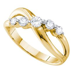 0.50 CTW Diamond 5-stone Crossover Ring 14KT Yellow Gold - REF-57F2N