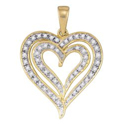 0.25 CTW Diamond Heart Love Pendant 10KT Yellow Gold - REF-18K2W