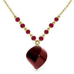Genuine 16.25 ctw Ruby Necklace Jewelry 14KT Yellow Gold - REF-46K2V