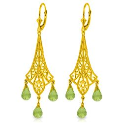 Genuine 4.5 ctw Peridot Earrings Jewelry 14KT Yellow Gold - REF-56W7Y