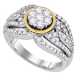 0.90 CTW Diamond 2-tone Roped Cluster Ring 10KT Two-tone Gold - REF-82K4W