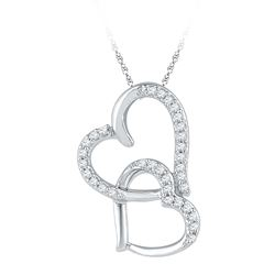 0.10 CTW Diamond Linked Double Heart Pendant 10KT White Gold - REF-8X9Y