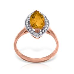 Genuine 1.80 ctw Citrine & Diamond Ring Jewelry 14KT Rose Gold - REF-70V5W