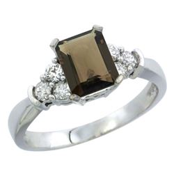 Natural 1.48 ctw smoky-topaz & Diamond Engagement Ring 14K White Gold - REF-52V3F