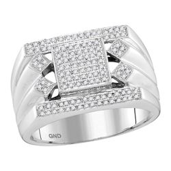 0.39 CTW Mens Diamond Square Center Cluster Ring 10KT White Gold - REF-82K4W