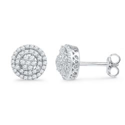 0.50 CTW Diamond Cluster Screwback Earrings 10KT White Gold - REF-37K5W