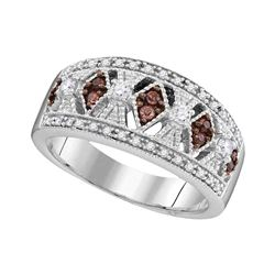 0.35 CTW Cognac-brown Color Diamond Milgrain Symmetrical Ring 10KT White Gold - REF-44X9Y