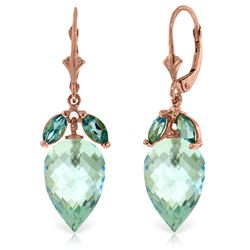 Genuine 23.5 ctw Blue Topaz Earrings Jewelry 14KT Rose Gold - REF-67V9W