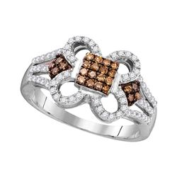 0.45 CTW Cognac-brown Color Diamond Square Cluster Ring 10KT White Gold - REF-34M4H