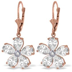 Genuine 4.43 ctw White Topaz & Diamond Earrings Jewelry 14KT Rose Gold - REF-49T8A
