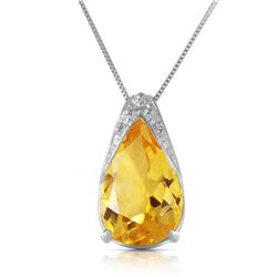 Genuine 5 ctw Citrine Necklace Jewelry 14KT White Gold - REF-27W2Y
