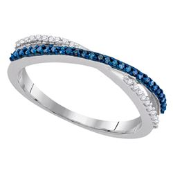 0.15 CTW Blue Color Diamond Slender Crossover Ring 10KT White Gold - REF-12F2N