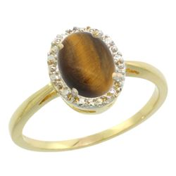 Natural 1.08 ctw Tiger-eye & Diamond Engagement Ring 14K Yellow Gold - REF-25N6G