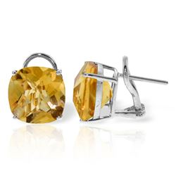 Genuine 7.2 ctw Citrine Earrings Jewelry 14KT White Gold - REF-46T5A