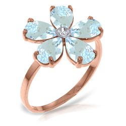 Genuine 2.22 ctw Aquamarine & Diamond Ring Jewelry 14KT Rose Gold - REF-42A2K