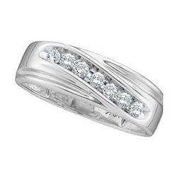 0.25 CTW Mens Channel-set Diamond Wedding Anniversary Ring 14KT White Gold - REF-34N4F