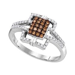 0.33 CTW Cognac-brown Color Diamond Square Ring 10KT White Gold - REF-24Y2X