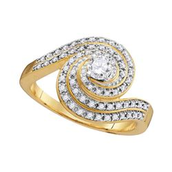 0.53 CTW Diamond Solitaire Swirl Bridal Engagement Ring 10KT Yellow Gold - REF-52M4H