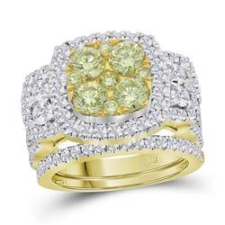 3.04 CTW Yellow Diamond Bridal Engagement Ring 14KT Yellow Gold - REF-359K9W