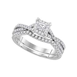 0.62 CTW Diamond Square Halo Bridal Engagement Ring 10KT White Gold - REF-75M2H