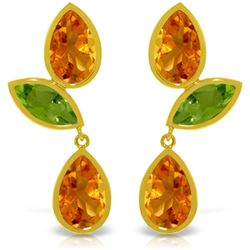 Genuine 13.6 ctw Citrine & Peridot Earrings Jewelry 14KT Yellow Gold - REF-62T4A