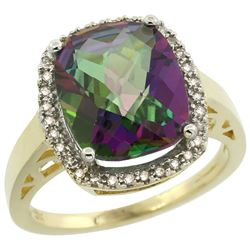 Natural 5.28 ctw Mystic-topaz & Diamond Engagement Ring 14K Yellow Gold - REF-53K2R