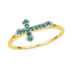 0.13 CTW Created Emerald Cross Ring 10KT Yellow Gold - REF-8K3W