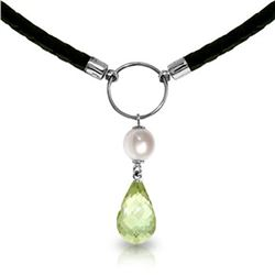 Genuine 7.5 ctw Green Amethyst & Pearl Necklace Jewelry 14KT White Gold - REF-52W9Y