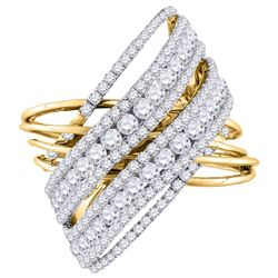 2.48 CTW Diamond Crossover Open Strand Cocktail Ring 14KT Yellow Gold - REF-240Y2X