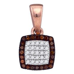 0.14 CTW Red Color Diamond Square Cluster Pendant 10KT Rose Gold - REF-14X9Y