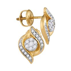 0.25 CTW Diamond Flower Screwback Stud Earrings 14KT Yellow Gold - REF-33N7F