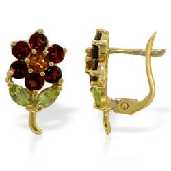 Genuine 2.12 ctw Multi-gemstones Earrings Jewelry 14KT Yellow Gold - REF-36T8A