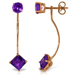 Genuine 4.15 ctw Amethyst Earrings Jewelry 14KT Rose Gold - REF-32P2H