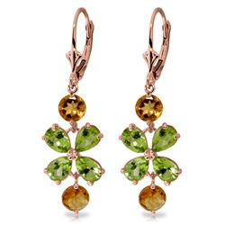 Genuine 5.32 ctw Peridot & Citrine Earrings Jewelry 14KT Rose Gold - REF-50F3Z