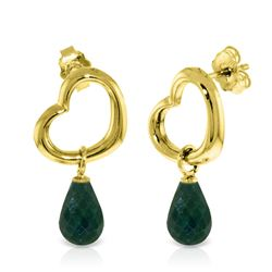 Genuine 6.6 ctw Green Sapphire Corundum Earrings Jewelry 14KT Yellow Gold - REF-47N2R