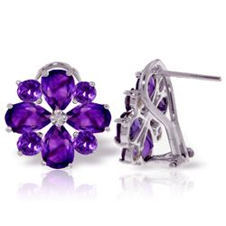 Genuine 4.85 ctw Amethyst Earrings Jewelry 14KT White Gold - REF-58Z4N