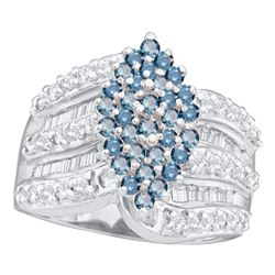 1.02 CTW Blue Color Diamond Oval Cluster Ring 10KT White Gold - REF-64F4N