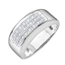 0.50 CTW Mens Princess Diamond Wedding Anniversary Ring 14KT White Gold - REF-79F4N